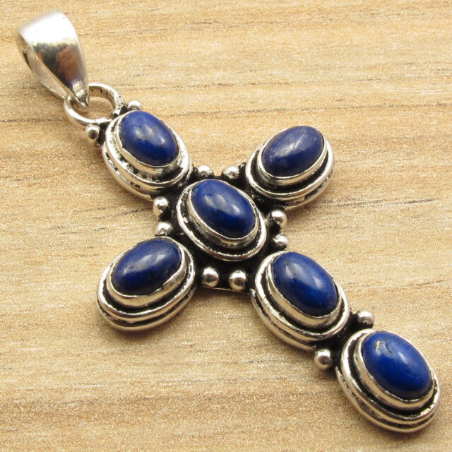 ANCIENT LOOK CROSS Pendant ! Natural LAPIS LAZULI 6 STONE ! 925 Silver Plated