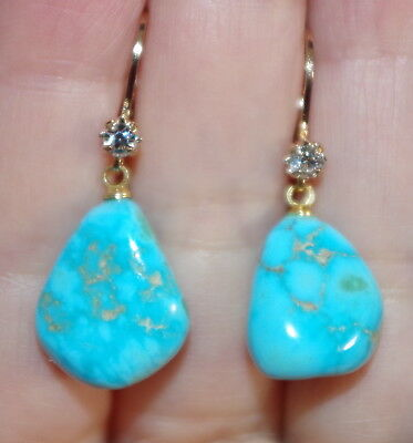 GORGEOUS 14K GF 10 MM ELONGATED TURQUOISE PETITE OVAL LEVER BACK EARRINGS