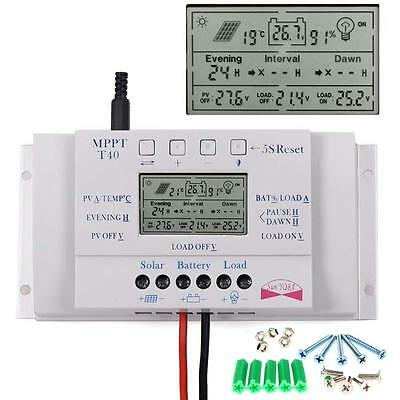 LCD 40A 12V/24V MPPT Solar Panel Battery Charge Controller Three-timer+Screws MT