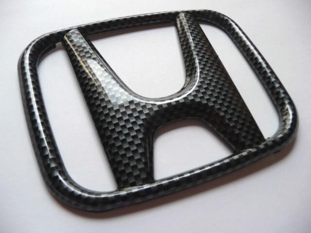 "Honda Black Gray Carbon emblem Front Grille badge 115 mm 4"" 10/16' inches"