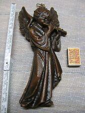 Großer Engel Wandbild aus Wachs spielt Flöte Höhe 31,5 cm