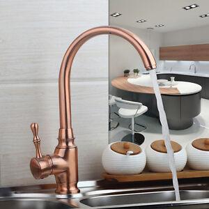 Antique-Copper-Kitchen-Sink-Basin-Taps-Swivel-Spout-Mixer-Single-Level-Faucet