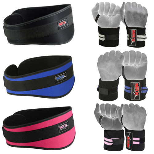 Weight Lifting Belts Gym Training Wrist Support Wraps Bandages Fitness Strap Set