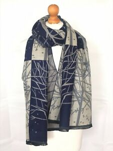 Woman-Warm-Soft-Tree-Branches-Pattern-Fringed-100-Cashmere-Scarf-Shawl-Wrap