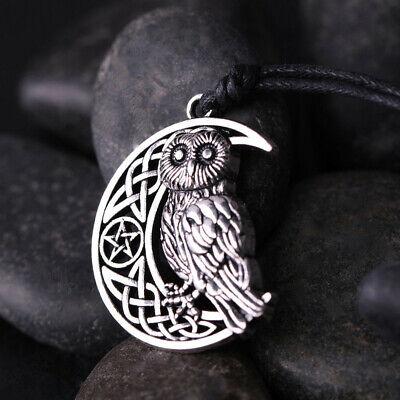 Goddess Crescent Moon Pendant Owl Necklace Wicca Pentagram Pagan Amulet Talisman