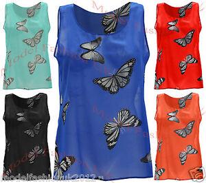 Womens Butterfly Print Sleeveless Chiffon Top
