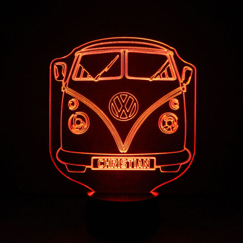 VW Campervan Personalised Kids Room Colour LED Night Light Custom Birthday Gift
