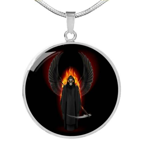 "Santa Muerte Grim Reaper Circle Pendant Necklace Stainless Steel or 18k Gold 18/"""