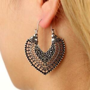 African-Tribal-Gypsy-Antique-Silver-Gold-Chandelier-Hoop-Earrings-Carved-Hollow