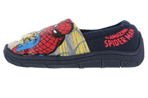 Boys Spiderman Flashing  Red /& Blue Elasticated Slippers UK Infant Size 7-1