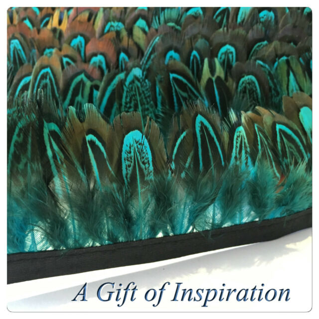 Aqua Blue Almond pheasant feathers on fringe/ribbon/trim(price for 30cm) craft