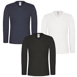 Mens-Long-Sleeve-T-shirt-100-Cotton-Base-Layer-V-Neck-Slim-Fit-Muscle-Top-Plain