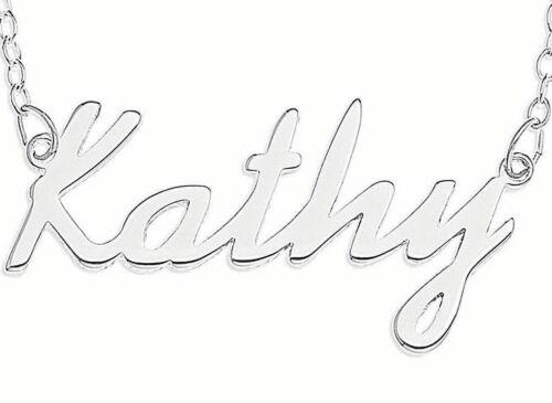 """/""""Kathy/"""" NOM Collier Argent Sterling 925 Rolo Chaîne lateur à travers Personnalisé Custom"""