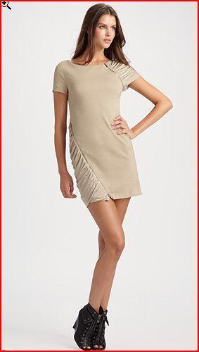 BCBG MAXAZRIA KHAKI SHIRrot PANEL ZIPPER DETAIL DRESS Größe M NWT  -RackK 15