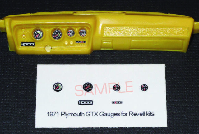 1971 PLYMOUTH GTX GAUGE FACES for 1/24 scale REVELL MONOGRAM KITS