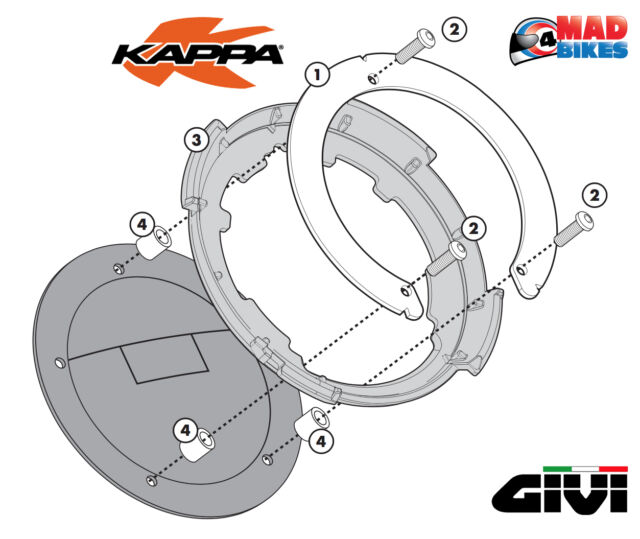 Kappa ZT480F Tanklock Motorcycle Luggage Replacement Nylon Flange