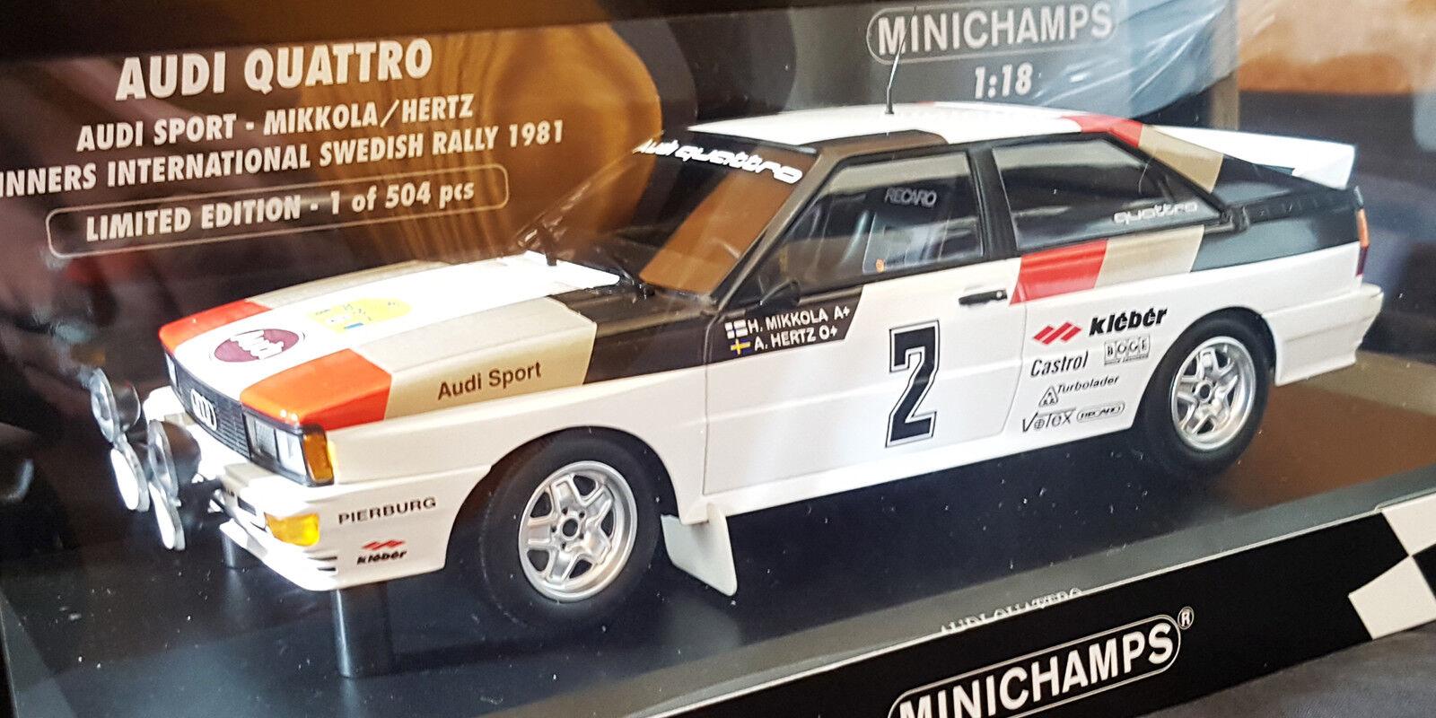 Minichamps, AUDI QUATTRO, Mikkola-Hertz, Swedish Rally'81, 1:18
