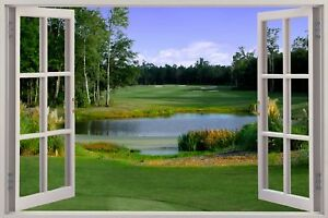 Huge-3D-Window-view-Golf-Fairway-Wall-Sticker-Mural-Film-Art-Decal-314