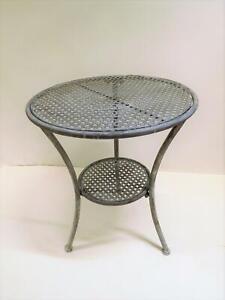 Gartentisch Beistelltisch Metalltisch Tisch Metall rund grau 50 cm SW190218
