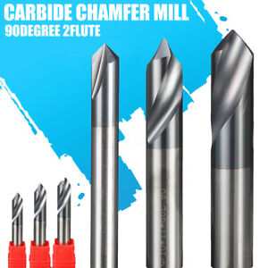 6PCS Dia 12mm 2Flute Carbide Chamfer Mill 90 Degree HRC45 End Milling Cutter Bit