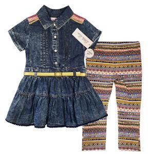 Little-Lass-New-2-Pc-Girls-Denim-Blue-Blouse-Top-amp-Legging-Set-LL592018-SZ-2-4