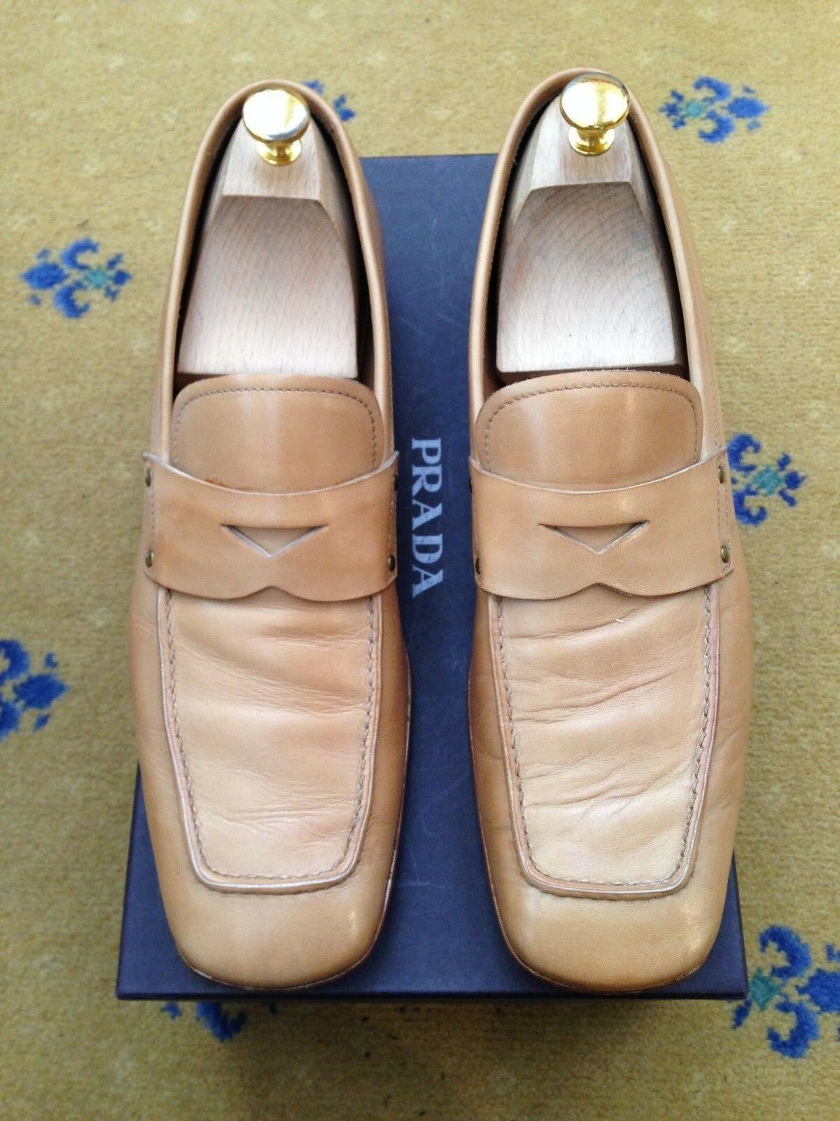 PRADA Scarpe Da Uomo TAN BROWN IN PELLE MOCASSINI US 11 EU 44 MADE IN ITALY