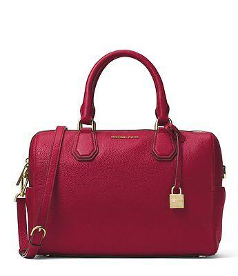 New MICHAEL KORS MD Mercer studio collection leather Mk DUFFLE Cherry BAG tote | eBay