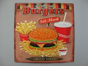 9977700 Mural Tin Sign Vintage Burgers Best IN Town 38x38cm