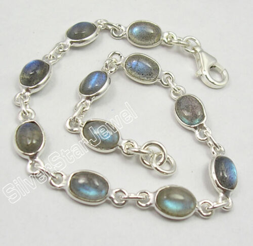 925 Pure Silver UNISEX Bracelet Made In India Natural Gemstone Discount Jewelry