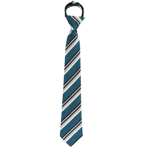 New Kids Boys Zipper Adjustable Pre-tied Necktie Turquoise Black White Stripes
