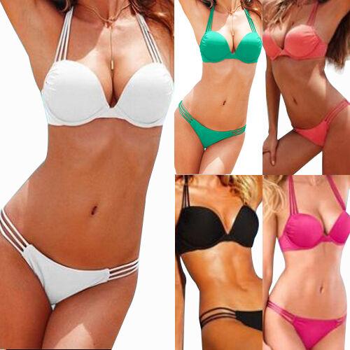 Damenmode Badeanzug Bandeau Bikini Push-Up Split Spaghetti Straps