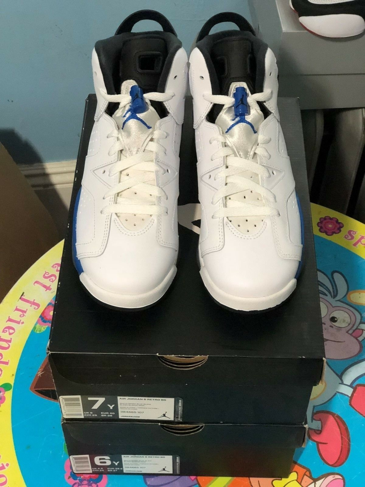 New Air Jordan 6 Retro BG White Sport bluee Black 384665 107 Youth sizes 6 & 7Y
