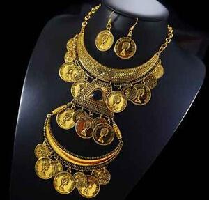 100% QualitäT Set 2 Tlg Kette Ohrringe Schmuckset Halskette Metall Kranz Paris Hippie Geld So Effektiv Wie Eine Fee