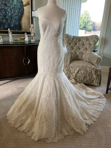Allure Bridals strapless champagne fitted mermaid