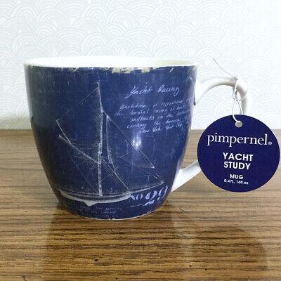 Yacht Study Coffee Mug Large 16 Oz Ceramic Navy Sailboat Nautical Blueprints Ebay