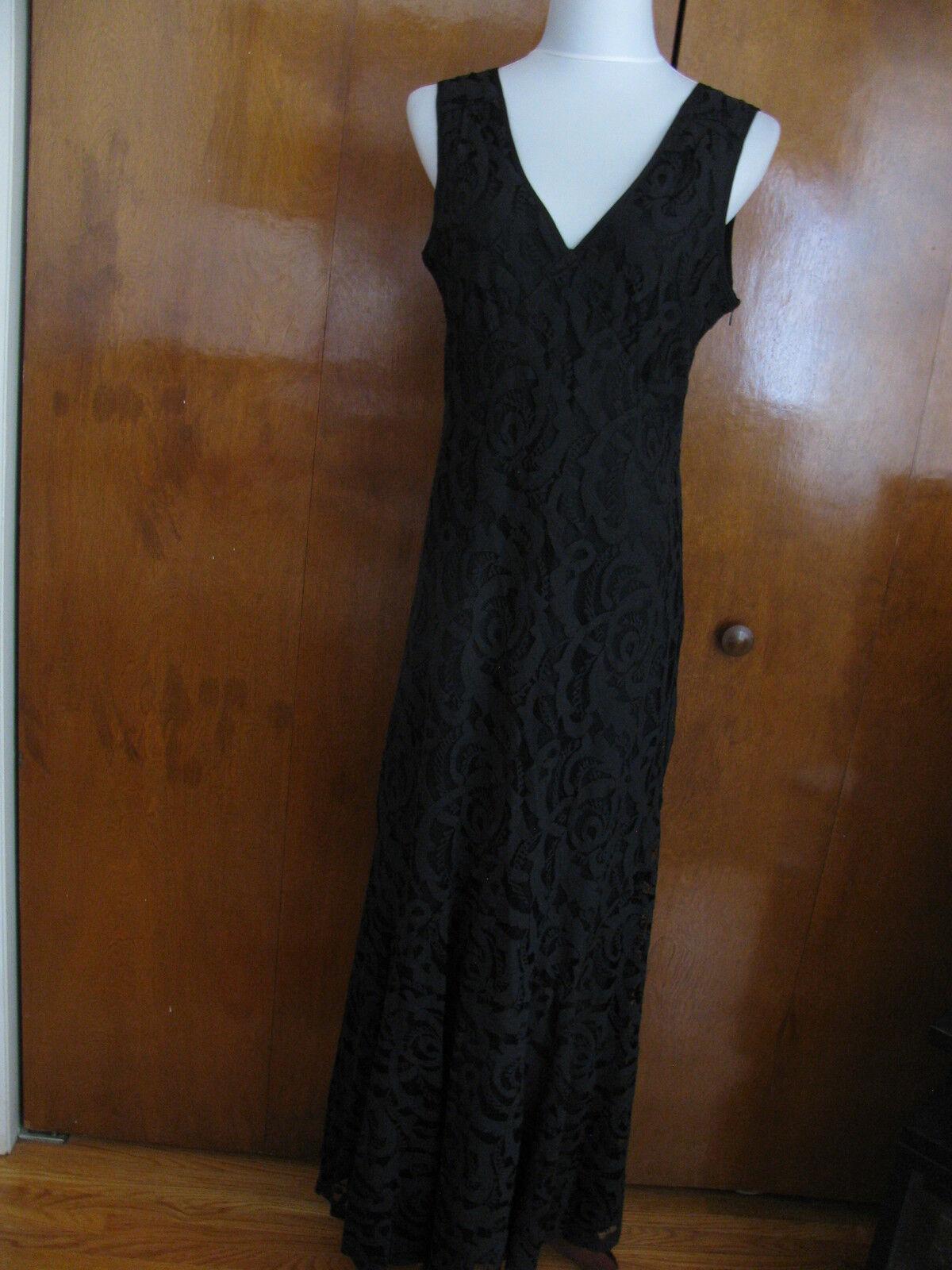 Impulse damen schwarz fabric crafted lined evening dress Größe Large NWT