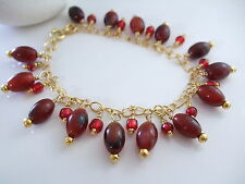 Exotic Red Agate, Glass and Chain Bracelet, Handcrafted, Wire Wrapped