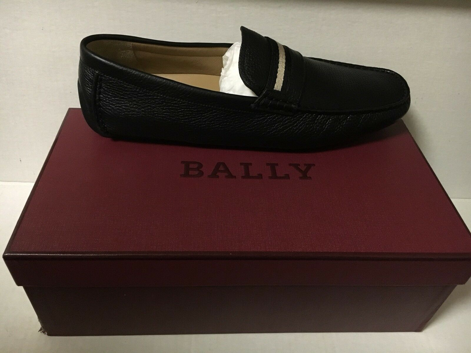 BALLY WABLER/10 Black CALF GRAINED LEATHER US  12.5 D