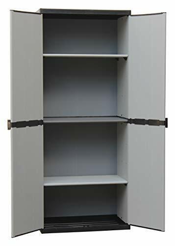 Armario De Resina Con 2 Estantes de Puerta, (interior/exterior), gris Negro,