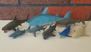 Toy-Shark-Lot-Vintage-Rubber-Great-White-CollectA-Schleich-amp-Papo
