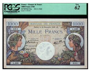 Vintage Banknote France PCGS Certified UNC New 62 1940 1000 Francs Pick 96a