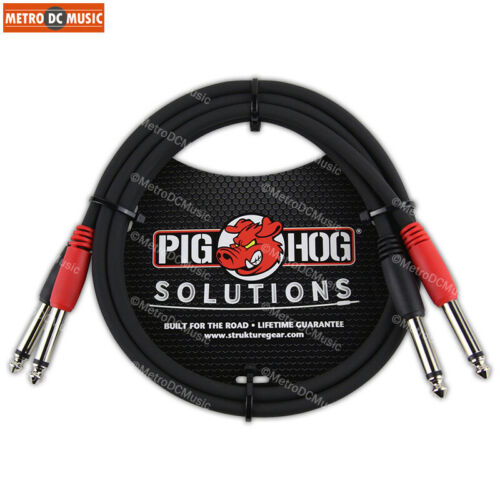 """Pig Hog 3 ft Dual 1//4/"""" Mono Male to 1//4/"""" Mono Male Red Black Coded for Stereo"""