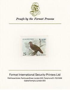 Sri Lanka 4261 - 1983 WOOD PIGEON 25c imperf on Format International PROOF CARD
