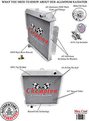 3 Row Aluminum Champion Radiator for 1978 1979 Ford Bronco ...