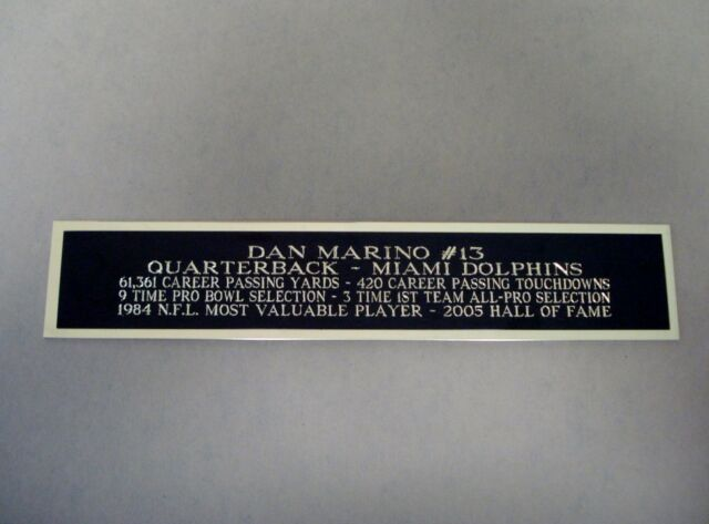 online retailer 16b03 31686 Dan Marino Miami Dolphins Nameplate for a Football Jersey Display Case 1.5  X 6