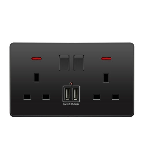 2 Charger USB Ports Outlets Flat Plate UK Double Wall Plug Socket 2 Gang 13A