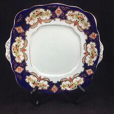 Royal Albert Heirloom Cobalt Blue Roses Imari Style Cake Plate Square Vintage