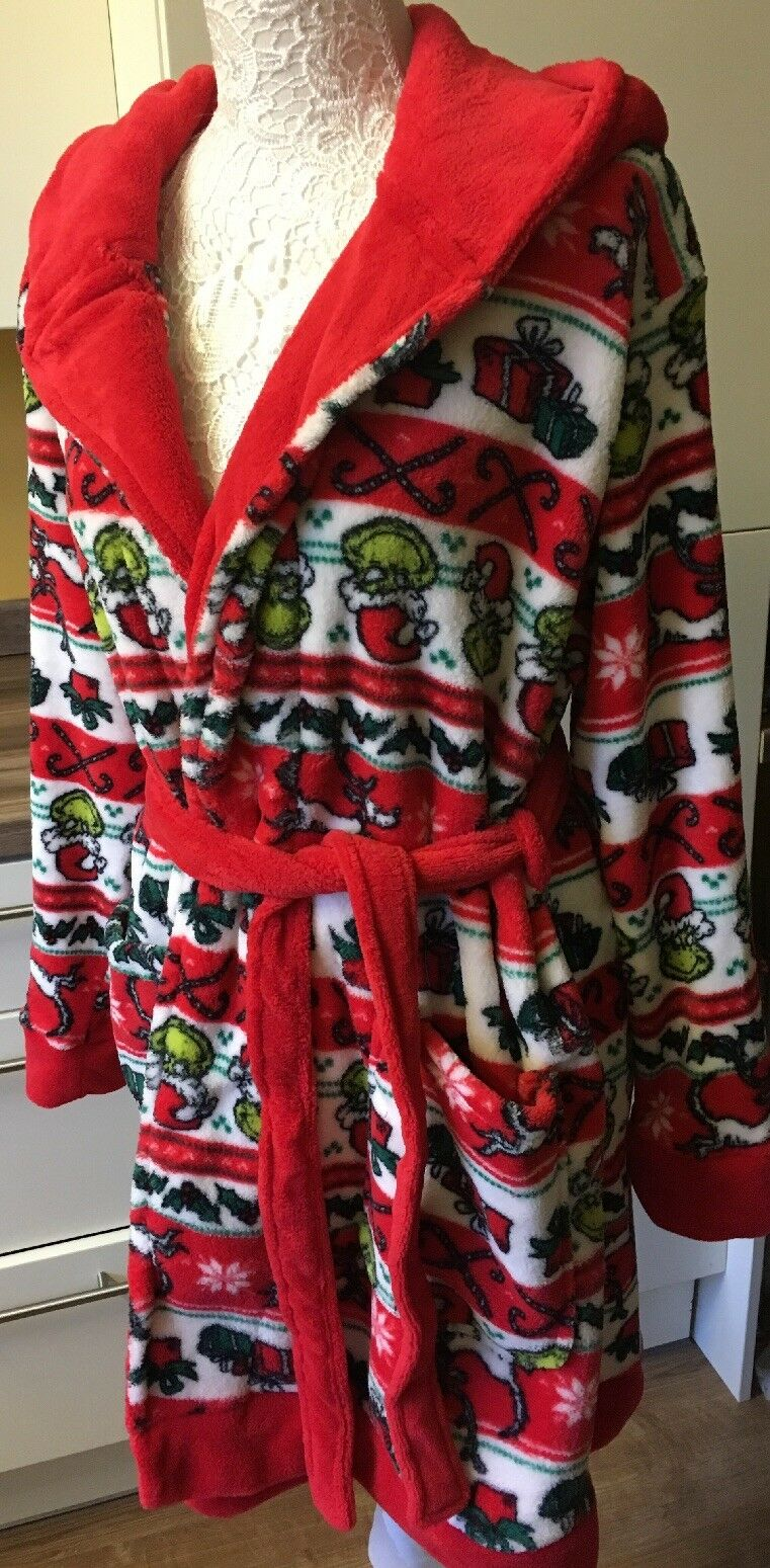 Ladies Dr Seuss The Grinch Christmas Dressing Gown Robe Primark Red Size 2XS 4-6
