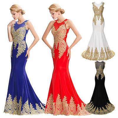 Applique Mermaid Sexy Formal Long Bridesmaid Evening Party BALL GOWN Prom Dress