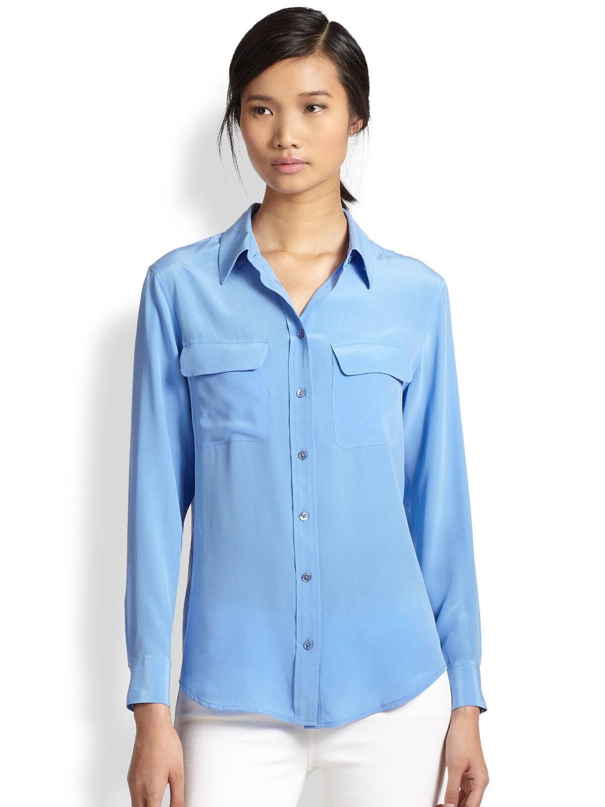 NEW Equipment Slim Signature washed Silk Blouse Shirt hydrangea Blau XS S M